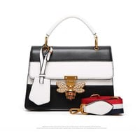 """Gucci"" Women Fashion Personality Multicolor Single Shoulder Messenger Bag Bee Lock Handbag"