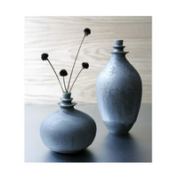 One Large Slate Double Flanged Ceramic Vase by Sara Paloma