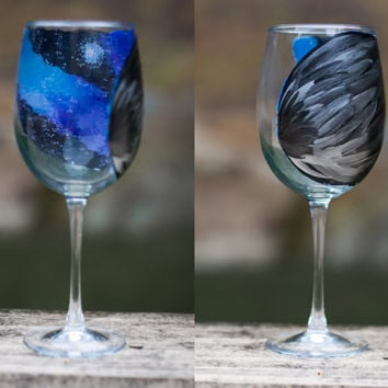 Halloween Galaxy Raven Wing Wine Glass