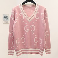 GUCCI New Fashion Autumn And Winter More Letter V-Neck Women Long Sleeve Women Sweater Top Pink