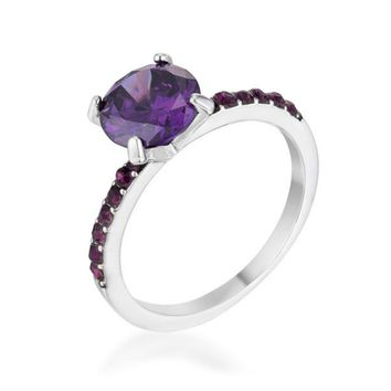Cicelia Amethyst CZ Rhodium Cocktail Ring | 2.3ct | Cubic Zirconia | Silver