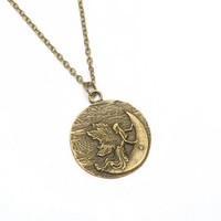 Ancient Bronze Large Moon Fairy Angel Pendant Necklace for Women