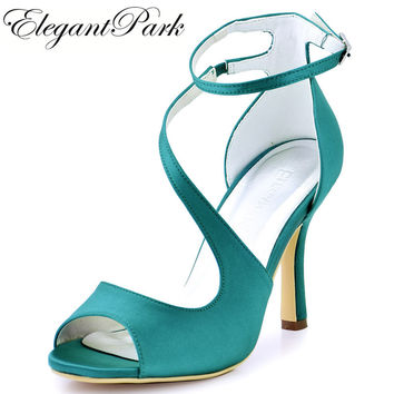 Woman Shoes High Heel Strap Sandals Turquoise Peep Toe Bridesmaid Satin Prom Evening Pump Bride Wedding Bridal Shoes HP1565 Blue