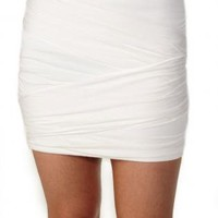 White Stretch Mini Skirt with Back Zipper