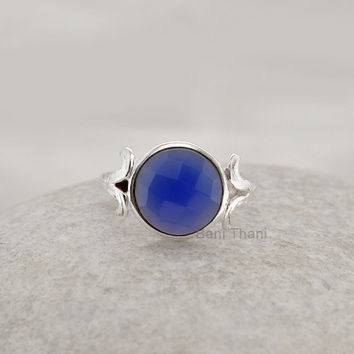 Dark Blue Chalcedony Faceted 10mm Round Gemstone Sterling Silver Bezel Ring Jewelry - #1200