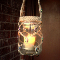Hanging macrame jar lantern with clear iridescent aurora borealis coin beads - flameless LED candle included