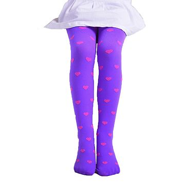 Girls Footed Heart Dots Tights Stockings