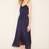 Contemporary Crochet-Trimmed Belted Slip Dress