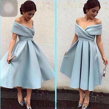 Elegant Cocktail Dress 2016 Off The Shoulder Pleats Prom Party Gowns Short Dresses Vestido De Festa Curto