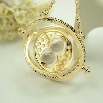 Harry Rotatable Hourglass Necklaces Pendants Potter fans Hermione Granger Rotating Spins long Necklace Time Turner Jewelry