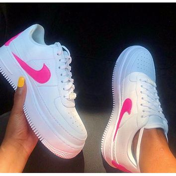 Nike Air Force1 Jester AF1 Air Force One White Powder Casual Sneakers Pink
