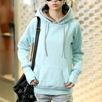 Casual Long Sleeve Hooded Pullover Cotton Plain Womens Hoodies = 1931716548