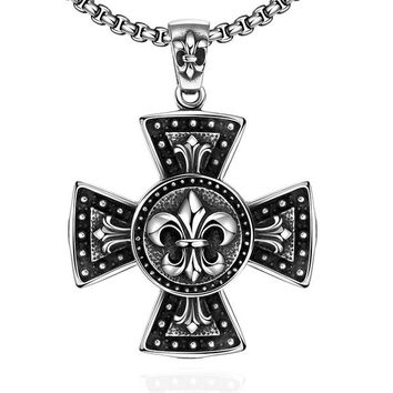 Hot sale pure 925 sterling silver jewelry Big cross pendant necklace link Maya silver 925 jewelry cross for men fashion jewelry