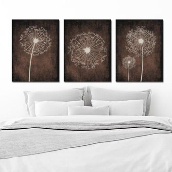 DANDELION Wall Art, Flower Brown Beige Custom Colors Grunge Background Bedroom Pictures, CANVAS or Prints Bathroom Dorm Set of 3 Home Decor