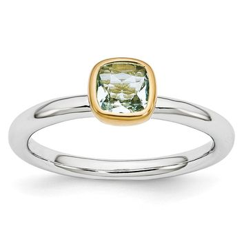 Two Tone Sterling Silver Stackable 5mm Cushion Aquamarine Ring