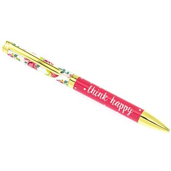 Think Happy Pretty Floral Fashion Pen in Gift Box