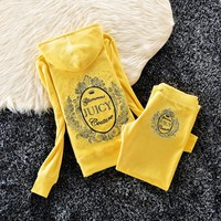 Juicy Couture Studded Logo Bright Crown Velour Tracksuit 6128 2pcs Women Suits Yellow