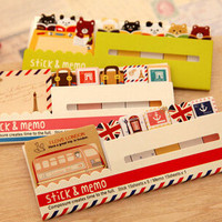 2014 Decoration Stationary Kawaii British Style & Animals Mini Memo Notepad note Book&memo Pad sticky Notes Book Mark