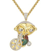 Cartoon Character riding Bike Iced Out Pendant