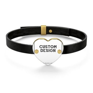 Customizable Bracelets for men women   Personalized Leather Bracelet for couples   Custom Bracelets with printed photo picture saying quote