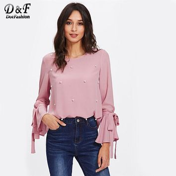Dotfashion Pearl Bow Tied Flounce Sleeve Blouse 2017 Pink Round Neck Ruffle Woman Top Long Sleeve Blouse