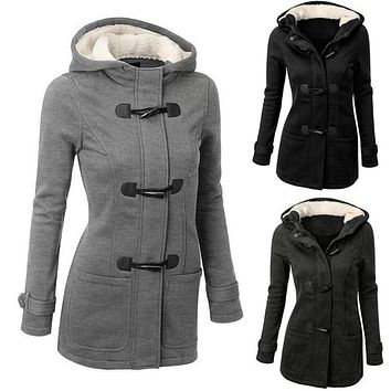 Women fashion Parkas warm coat 2016 winter plush jacket with a hat long sleeves slim ladies coat