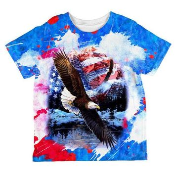 CREYCY8 4th of July American Flag Bald Eagle Splatter All Over Toddler T Shirt