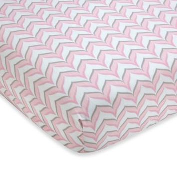 Wendy Bellissimo™ Mix & Match Chevron Fitted Crib Sheet in Pink