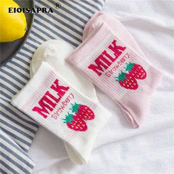 [EIOISAPRA]Kawaii Jacquard Fruit Strawberry Milk Pinky/White Women Socks Japanese Harajuku Funny Socks Calcetines Mujer