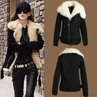 Women's NEW Warm Fur Winter Coat Lush Black Outerwear Jacket Parka = 1930499076