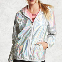 Holographic Nylon Zip Jacket