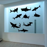 Sharks Vinyl Wall Decal Set of Nine Sharks 22304