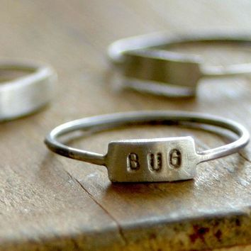 Custom Hand Stamped Silver Name Ring by monkeysalwayslook on Etsy