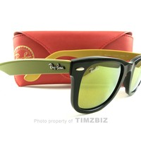 New Ray-Ban Sunglasses RB2140 Black Green Yellow 1173/93 Authentic