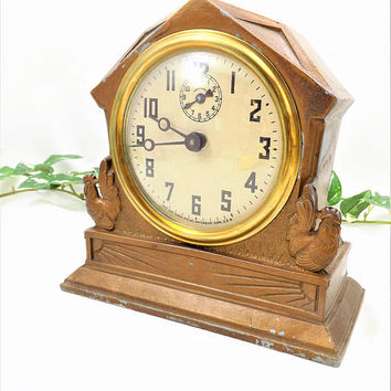 Lux Clock with Rooster Design, Metal Wind Up Clock, Novelty Alarm Clock by Lux Clock Manufacturing Co., Circa 1936