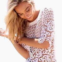 White Crochet Lace Short Sleeve Top