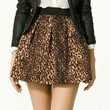 Leopard Elastic Waist Pleated Mini Skirt
