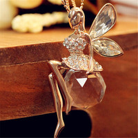 2016 Fashion Gold Plated Crystal Angel Wings Long Chain Necklace/Ahiny Butterfly Fairy Necklace Jewelry Women+