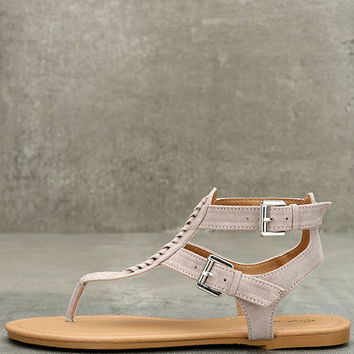Draya Taupe Suede Flat Sandals
