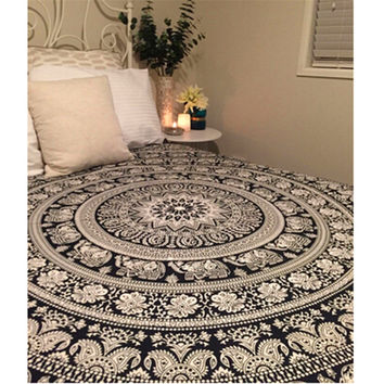 210*148cm Printed Elephant Blanket Tapestry Indian Mandala Tapestry Hippie Chiffon Wall Hanging Tapestries Boho Bedspread