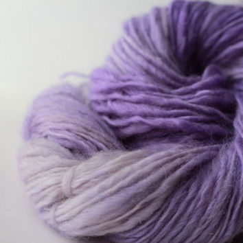 Hyacinth BFL/Mohair - Gentle Thick and Thin Handspun, Handcarded Yarn - Single Ply Worsted-Aran Weight