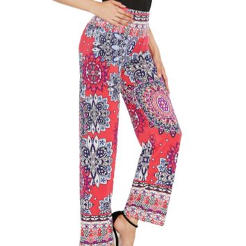 Women's Boho Party Loose Floral Chinos Pants