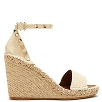 Rockstud leather espadrille wedge sandals | Valentino | MATCHESFASHION.COM US