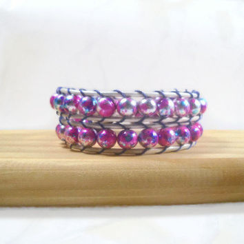 Pink Wrap Beaded Bracelet Leather Wrap Bracelet Beaded Bracelet
