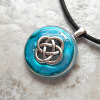 celtic knot necklace: aqua blue - mens jewelry - mens necklace - celtic jewelry - boyfriend gift - irish jewelry - unique gift - fathers day