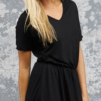 Bella V-Neck Dress - Black