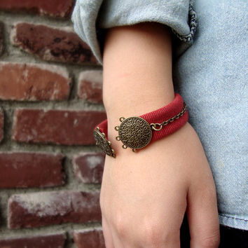 Red canvas Fabric cuff, bold chunky thick cuff bracelet, two round circles pendant cuff bracelet, chains cuff, Christmas gift idea
