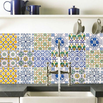 Tile decals Stickers - Tile Decals - Tile decals for Kitchen or Bathroom - PACK OF 20 - Mexico, Morocco, Portugal, Spain, Mosaic #17