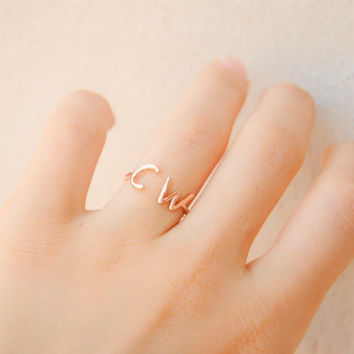 Rose Gold Initial Ring - Two Initial Ring - Personalized Jewelry - Personalized Ring - Custom Initial Ring - Dainty Gold Ring