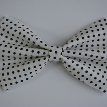 Hair bow-Ivory and black polkadots, Dance School,Pageant Hair Bows for Teens,Hair bows for dance school, Pageant hair bows